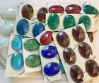 Oval 40x30mm Flat Backed Faceted Glass Jewels for Stained Glass - 13 Colors!