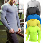 Men's Workout Compression Tights Long Sleeve Gym Plain Shirts Dri-fit Breathable