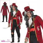 Mens Deluxe Zombie Pirate Hook Captain Adult Halloween Red Fancy Dress Costume