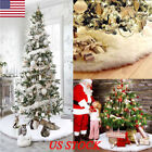 US White Plush Christmas Tree Skirt Stands Apron Ornaments Xmas Party Home Decor
