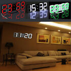 Modern Design Digital LED 3D Night Time Wall Clock 24/12 Hour Alarm Snooze Home