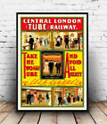 Central London Tube : old Railway advertising, Reproduction poster, Wall art.