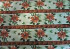 Cotton Fabric Christmas Festive Pattern Poinsettia Flowers Cream and Red Craft