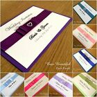25 PERSONALISED WEDDING/EVENING INVITATION CARDS WITH SATIN BOW - Many Colours