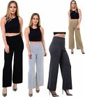 Womens Knitted Plain Wide Leg Palazzo Ladies Full Length Trousers Pants