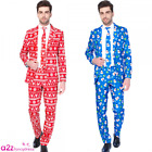 MENS FESTIVE NOVELTY CHRISTMAS SUIT RED OR BLUE ADULT FANCY DRESS SUITMEISTER
