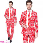 MENS CHRISTMAS FESTIVE NOVELTY XMAS RED NORDIC SUIT BY SUITMEISTER