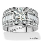 Women's Stainless Steel Round Cut CZ Engagement Ring Band Size 5,6,7,8,9,10,11