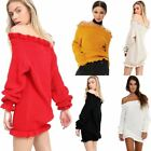 New Women Ladies Chunky Knit Ruffle Edge Off Shoulder Bardot Tunic Knitted Top