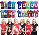 Womens Xmas T Shirt Ladies Rudolph Reindeer Olaf Minion Christmas Cap Sleeve Top