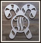 "Candy Cane Door Hanger - Unpainted Wood - Christmas - 22"" size - Monogram Letter"