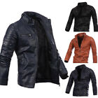 Black Men's Leather Jacket fashion Slim Fit Biker Motorcycle Jacket Red NEW