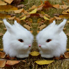 Mini Realistic Cute White Plush Rabbits Fur Lifelike Animal Furry Easter Bunny