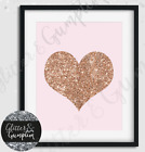 Fashion Rose Gold Heart Pink beauty room bedroom office decor Wall Art print