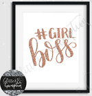 Fashion Typography Quote Girl Boss Rose Gold office beauty Room wall Art print