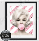 Fashion Art Pink Bubblegum Marilyn Monroe Roses Beauty Room Home DecorWall Print