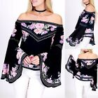 One The Land Black Gypsy Floral Dramatic Bell Sleeve Off Shoulder Blouse S-L