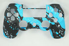 Blue Splatter Soft Touch Front Face Shell For PS4 Controller - For current gen