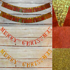 Merry Christmas Glitter Sparkle Banner, Foil 2 Pack Hanging Decoration Red Gold