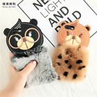 Handmade Soft Back Phone Cover Case with Lovely Cartoon Bear Plush Rabbit Hair