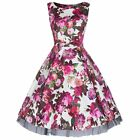 Hearts and Roses Audrey 50s Cream Floral  Vintage Style Swing Dress