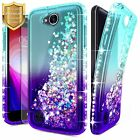 For LG X Power 2 / X Charge | Liquid Glitter Bling Case Cover + Screen Protector