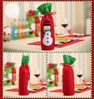 UK stock Xmas wine bottle wrap cover red Xmas gift bags party house decoration