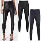 Womens Ladies Wet Look Jeans Trousers Faux Leather Biker Jeggings Pants New Size
