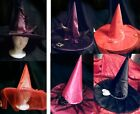 Women DELUXE WITCH HAT - Pink Purple Black or Red with Mesh Veil and Roses ADULT