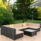 7PCS Outdoor Patio Sofa Set PE Wicker Rattan Sectional Garden Furniture Couch