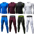 Men's Compression Athletic Base Layers Set Running Gym Long Sleeve Tops Elastic