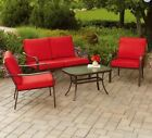 Patio Set 4 Piece Conversation Love Seat Cushion Durable Outdoor Furniture Deck