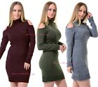 Womens Ladies Cut Out Cold Shoulder Turtle Neck Knitted Bodycon Jumper Dress Top