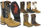 Mens Real Leather Western Cowboy Boots Assorted Colors Square Toe Rodeo Ranch