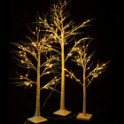 4-6 Ft White Birch Snow Christmas Tree w/ LED Lights Outdoor Xmas Party Ornament