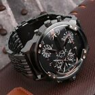 Oulm Men 2 Movement Big Dial Stainless Steel Strap Sports Wrist Watch 3548 HP