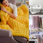 120*150cm Warm Chunky Knit Blanket Thick Yarn Wool Bulky Knitted Sofa Throw image