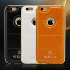 Luxury PU Leather Hard Back Case  Aluminum Bumper Cover for iPhone 5/5S 6/6S