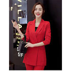 Red Formal Women Suit Pants Elegant Double Breasted Female O