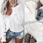 Autumn Womens Sexy V neck Oversized Jumpers Knitted Warm Chunky Sweaters U6KS