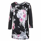 Woman's Captivating Flower Pattern Ruching Blouse Round Neck Long Sleeves S-XXL