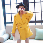vintage Womens Wool blended lapel belted parka trench coat Jacket winter Hot KL