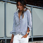 US Women Fashion Casual Cotton Long Sleeve Striped Shirt Loose Blouse Tops Tee