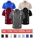 Guayabera Men's Two Tone Cuban Short Sleeve Button-up Shirt Contrast Embroidery