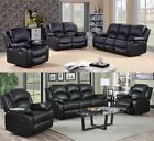 New Fernandez Sofa Black 3 + 2 + 1 Seater Bonded Leather Recliner Sofa