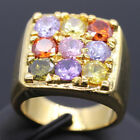 Fashion Big Ring White Multi-color Cubic Zirconia 18K Gold Plated Size 6 7