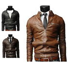 US Men Boy Fashion Jackets Collar Slim Motorcycle Leather Jacket Outwear Coat