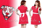 Sourpuss Rizzo Puppy Love Dog Bone Red Polka Dot Pin Up Rockabilly Diner Dress
