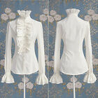 Women Lady Button Down Shirt Frilly Ruffle T-shirt Tops Flounce Blouse Clothes