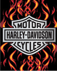 Harley Davidson Chrome Badge w/ Flames Beach Towel $34.95 USD on eBay